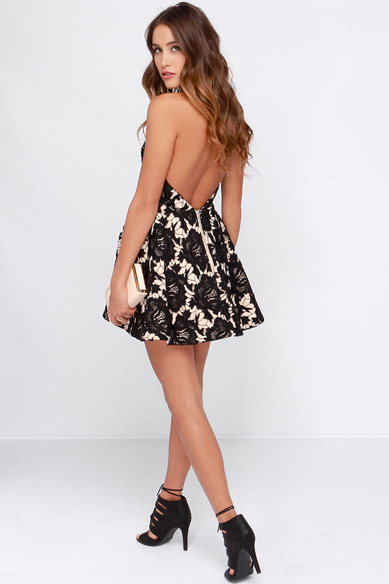 Black lace backless dress