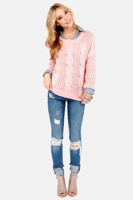 Cute Cable Knit Sweater - Peach Sweater - Pink Sweater - $43.00
