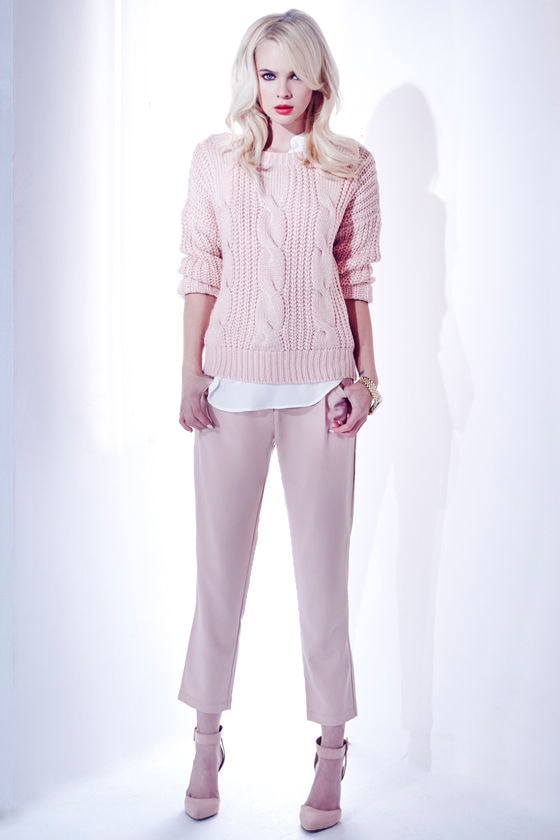 Willing and Cable Knit Peach Sweater at Lulus.com!
