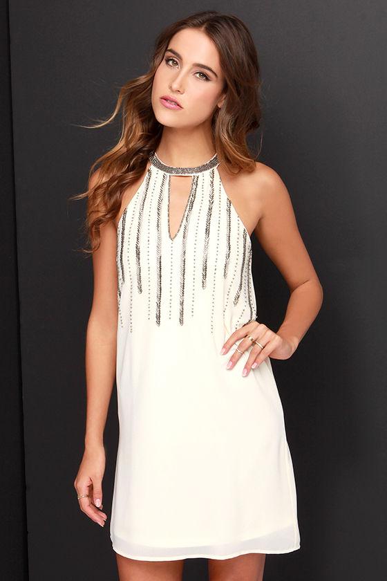 Cute Cream Dress - Beaded Dress - Shift Dress - $52.00