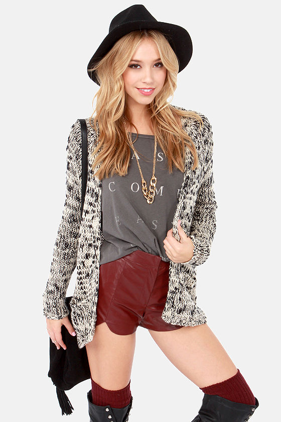 Snugs and Kisses Black and Ivory Cardigan Sweater at Lulus.com!