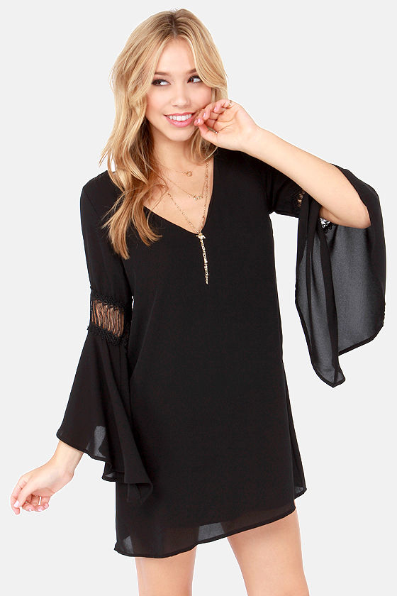 Black Shift Dress with Bell Sleeves