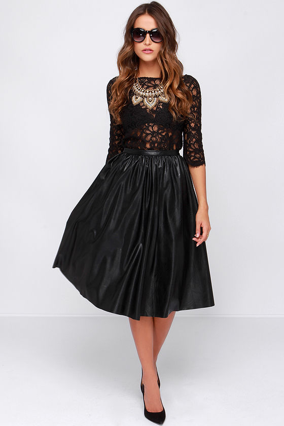 Black Vegan Leather Skirt - Midi Skirt - Cute Skirt - $83.00