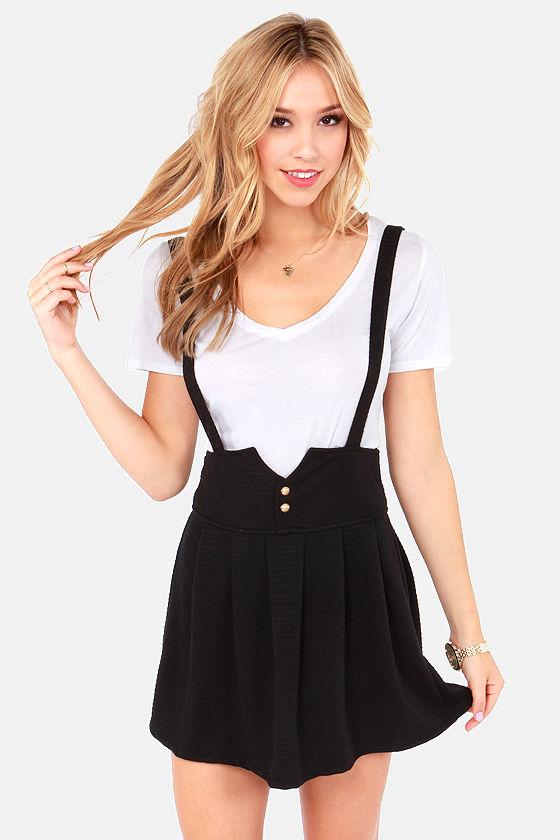 Cute Black Skirt Suspender Skirt Pleated Skirt 38 00