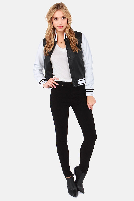 Hurley Fury Black and White Baseball Jacket at Lulus.com!