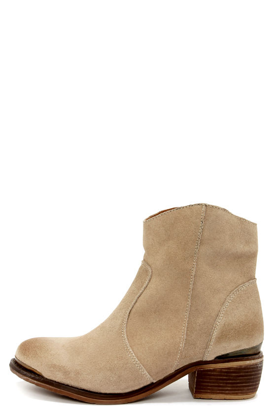 MTNG 90034 Molly Wax Crema Suede Ankle Boots at Lulus.com!