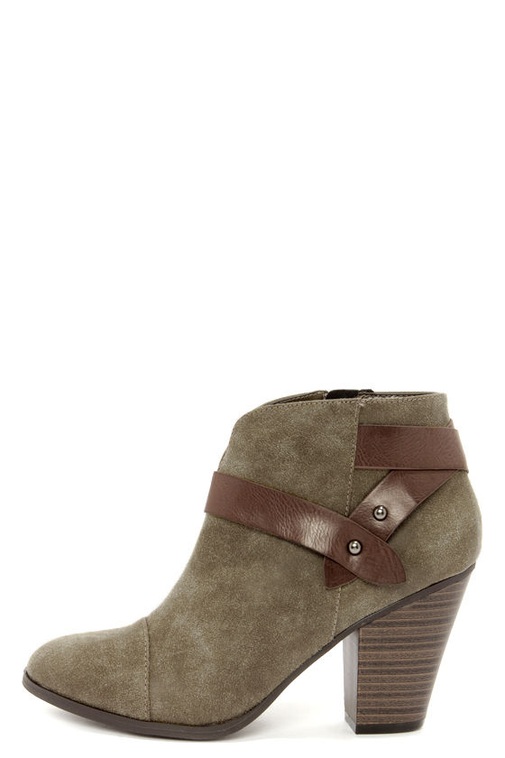 City Classified Brag Khaki Suede Belted Ankle Boots at Lulus.com!