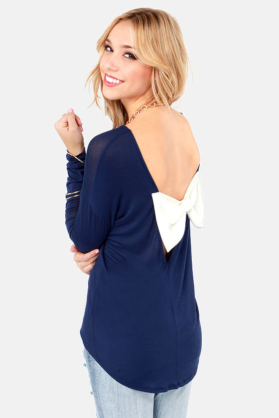 The Bow Monde Long Sleeve Navy Blue Top at Lulus.com!