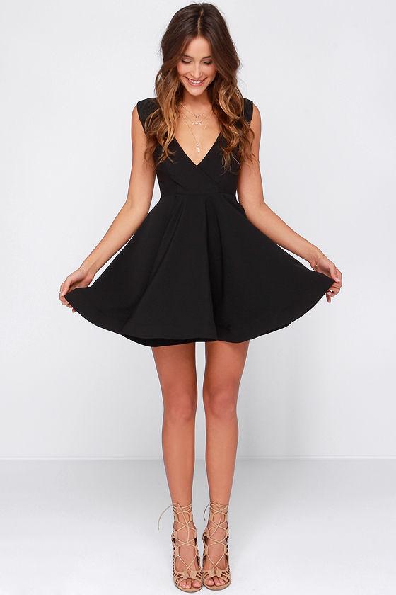 d3c58fac5aec Cute Black Dress - Skater Dress - LBD - Structured Dress -  47.00