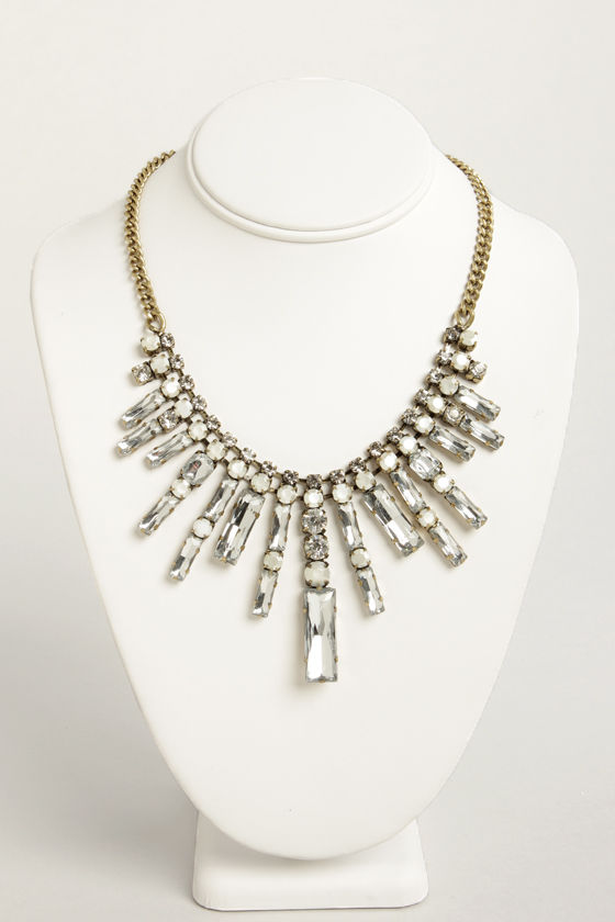 Stately Affair Gold Rhinestone Necklace at Lulus.com!