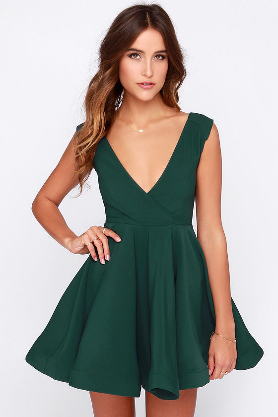 Cute Forest Green Dress - Skater Dress - Structured Dress - $47.00