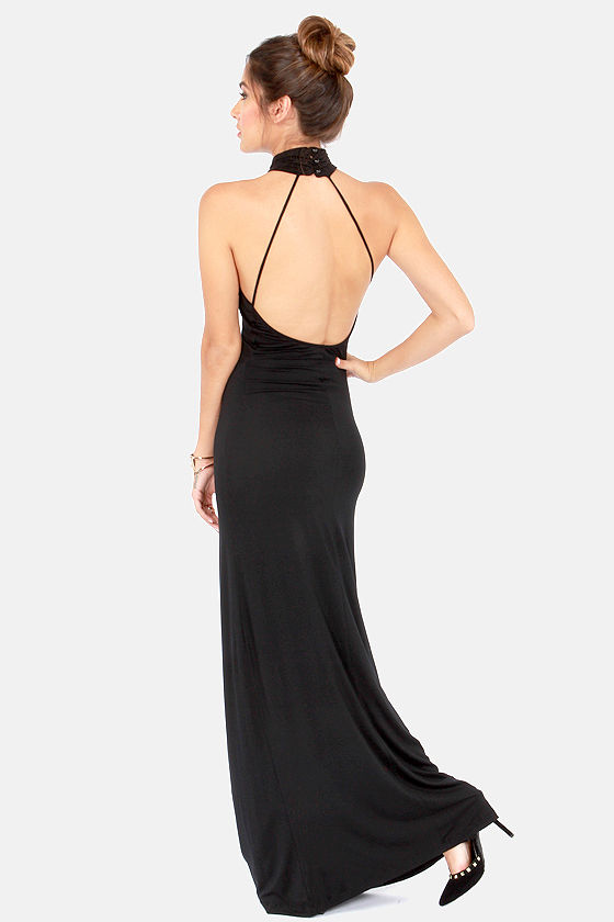 Black backless dress maxi
