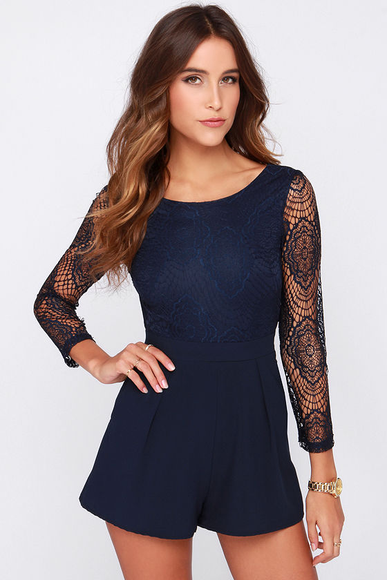 6dbc8d04769d Sexy Navy Blue Romper- Lace Romper - Long Sleeve Romper -  48.00
