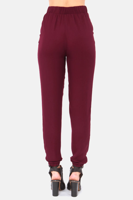 Harem Shake Burgundy Harem Pants at Lulus.com!