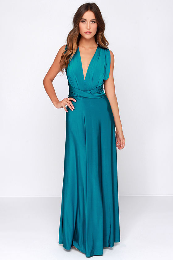 Pretty Maxi Dress Convertible Dress Teal Dress
