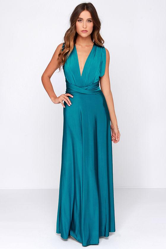 Pretty Maxi Dress - Convertible Dress - Teal Dress - Infinity ...