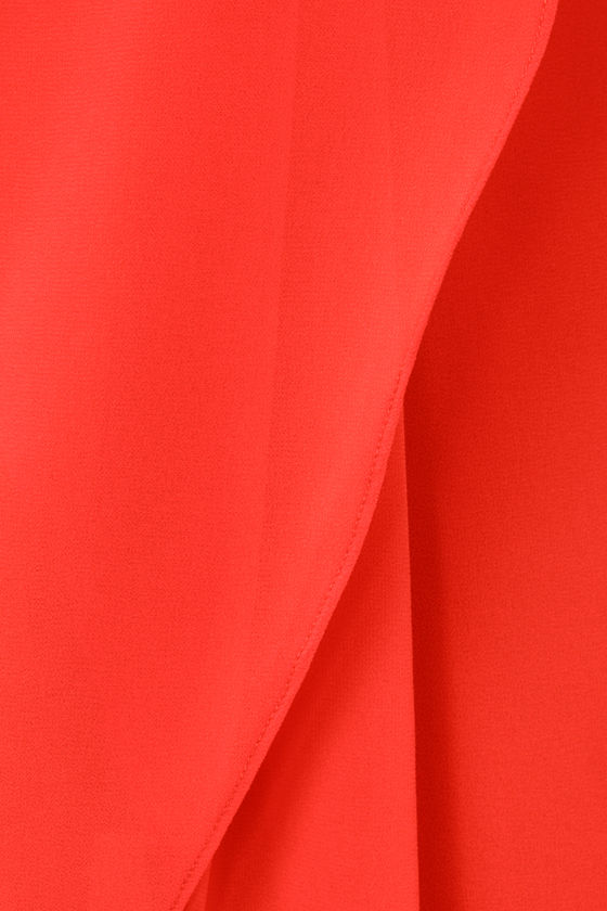 The Draped Caper Strapless Coral Red Dress at Lulus.com!