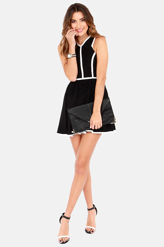 Keepsake Flash Back White and Black Dress at Lulus.com!