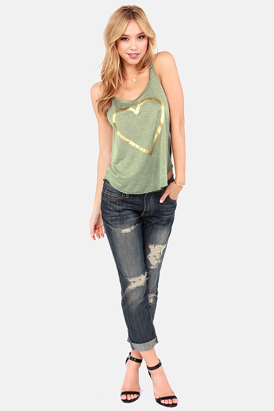Billabong Hearts of Gold Green Tank Top at Lulus.com!