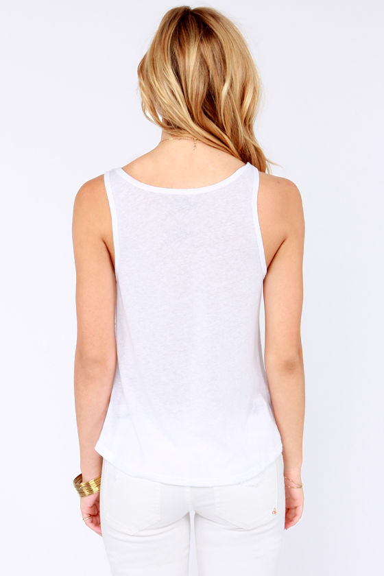Billabong Tell Me Now and Late White Tank Top at Lulus.com!