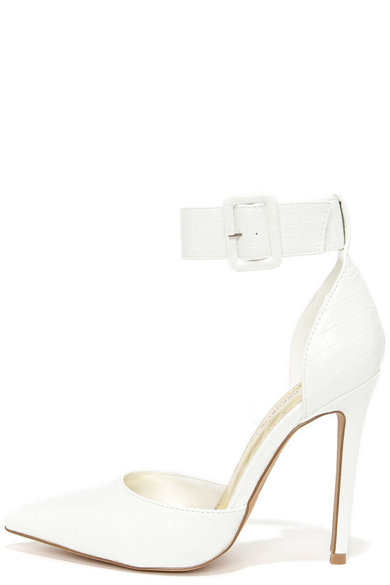 Pretty White Heels - Pointed Pumps - Ankle Strap Heels - $34.00
