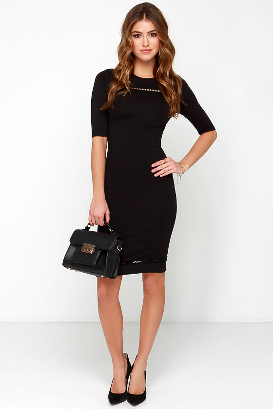 Sexy Bodycon Dress - Black Dress - Short Sleeve Dress - $40.00