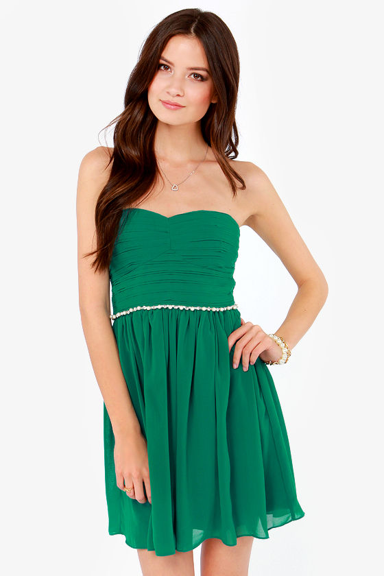 Pretty Emerald Green Dress - Strapless Dress - Rhinestone Dress ...