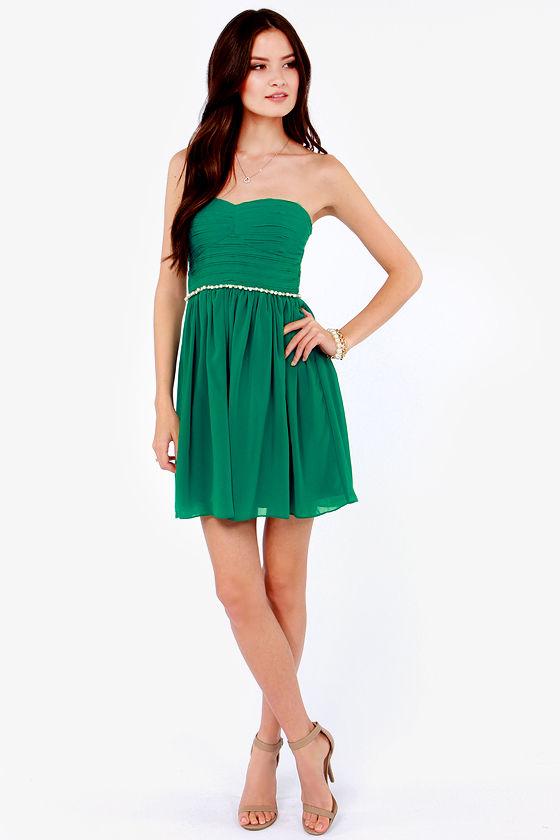 b2d9513fcf7 Pretty Emerald Green Dress - Strapless Dress - Rhinestone Dress -  79.00
