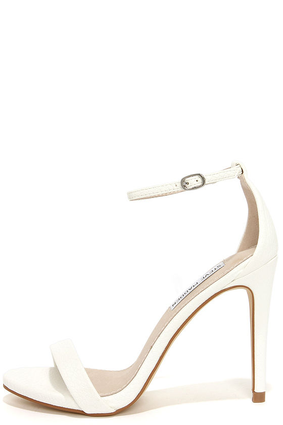 Steve Madden Stecy White Snake Heels - Ankle Strap Heels - Single ...