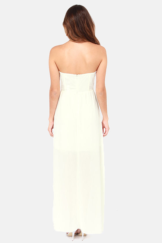 Waltz the Line Strapless Ivory Maxi Dress at Lulus.com!