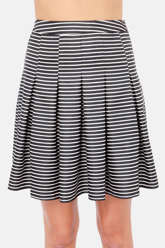Don't Miss a Pleat White and Black Striped Skirt at Lulus.com!