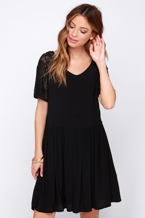 Cute Black Dress - Lace Dress - Short Sleeve Dress - Babydoll ...