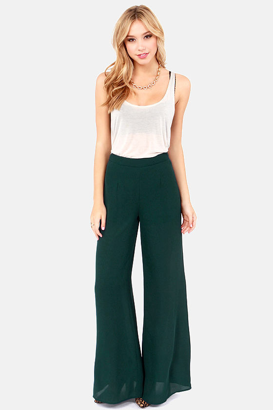 Cool Teal Pants - High-Waisted Pants - Palazzo Pants - $46.00