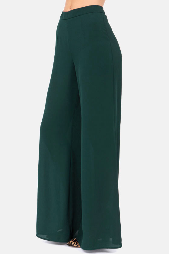 Dearest Pen Palazzo Dark Teal Wide-Leg Pants at Lulus.com!