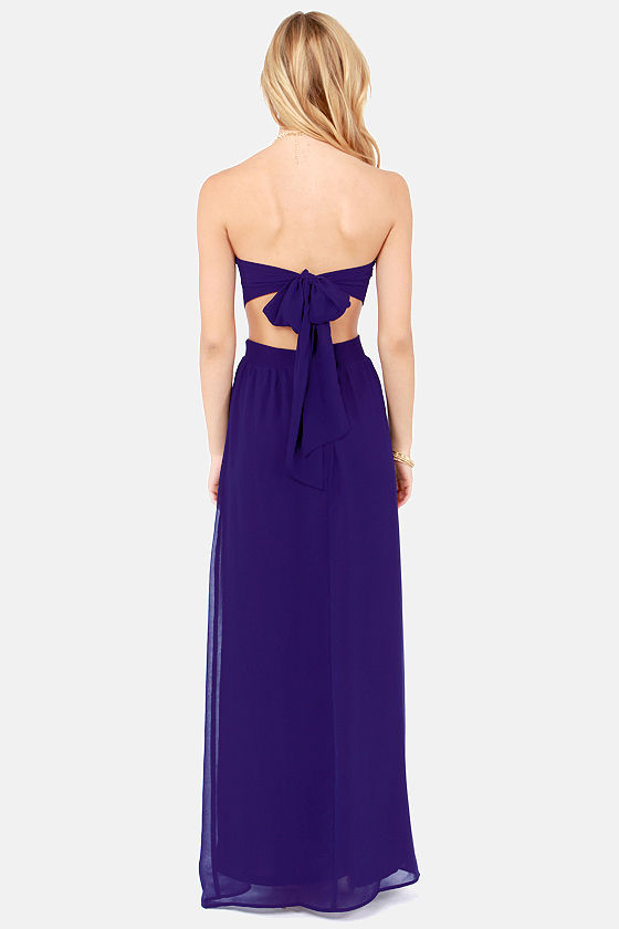 Life of Tie Dark Blue Strapless Maxi Dress at Lulus.com!