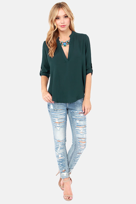 V-sionary Dark Teal Top at Lulus.com!