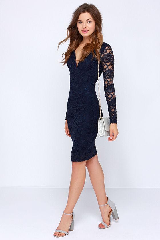 b9db71697cc Lovely Navy Blue Dress - Lace Dress - Midi Dress - Long Sleeve Dress ...