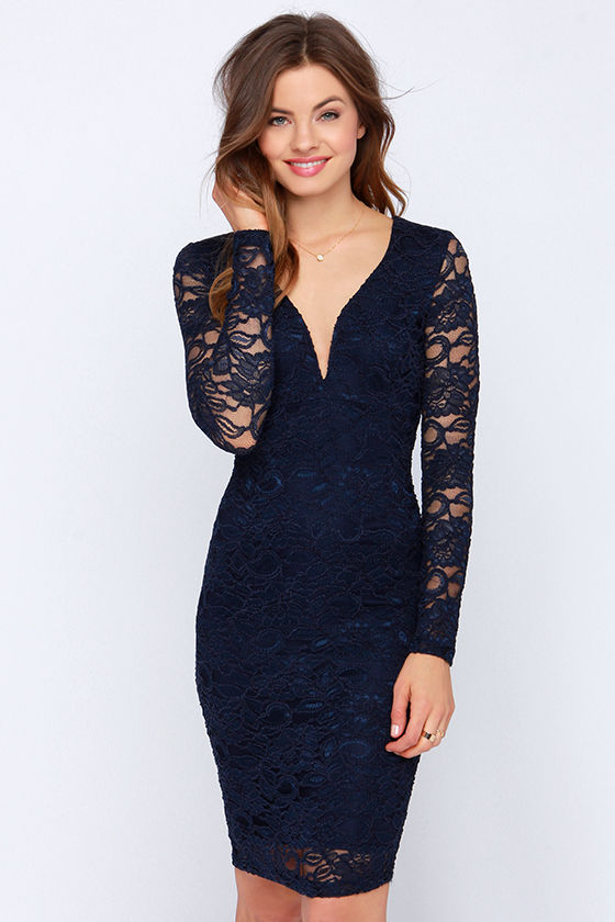 Lovely Navy Blue Dress - Lace Dress - Midi Dress - Long Sleeve ...