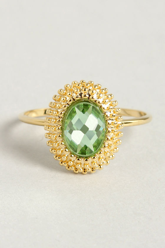 Anastasia Green Rhinestone Ring at Lulus.com!
