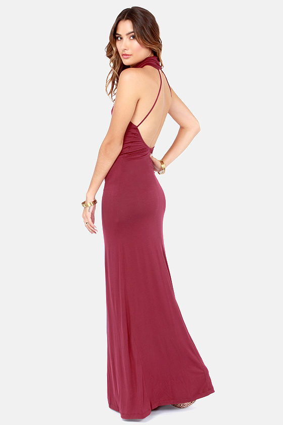 Elevate Her Backless Wine Red Maxi Dress at Lulus.com!
