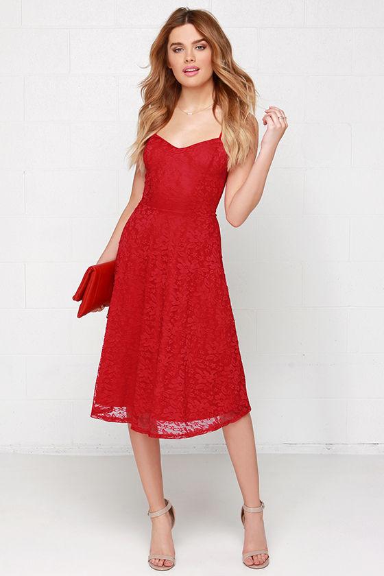 Pretty Red Dress - Midi Dress - Lace Dress - $41.00