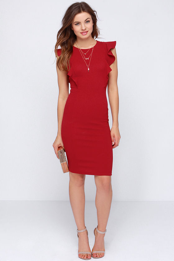 1ac83102e18 Chic Wine Red Dress - Ruffle Dress - Bodycon Dress - Midi Dress -  34.00