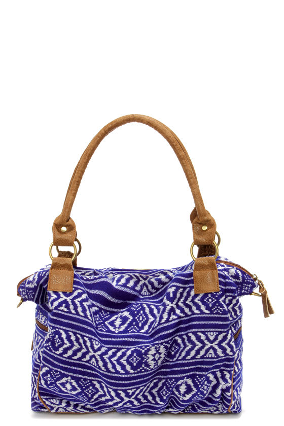 Element Eden Stella Ivory and Blue Print Handbag at Lulus.com!