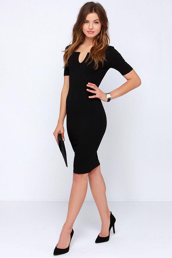 Chic Black Dress - Bodycon Dress - Notched Dress - $44.00