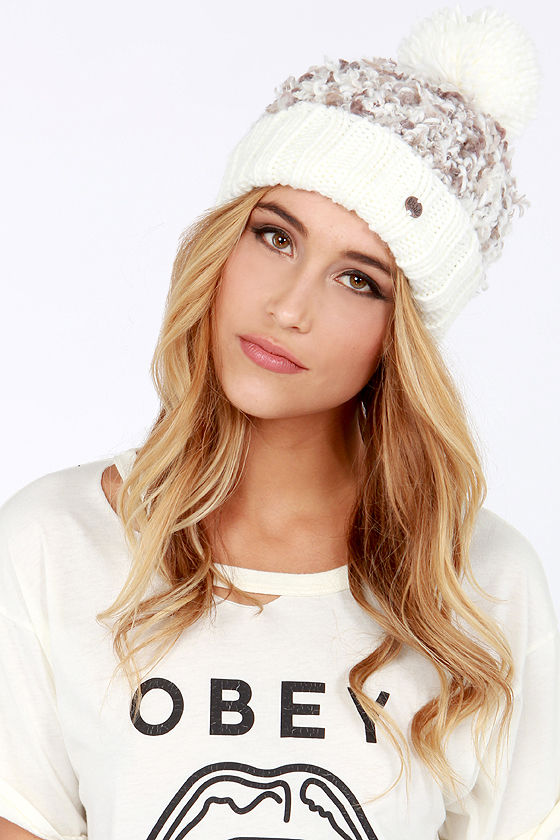 Billabong Love Over Lite Taupe and Ivory Beanie at Lulus.com!