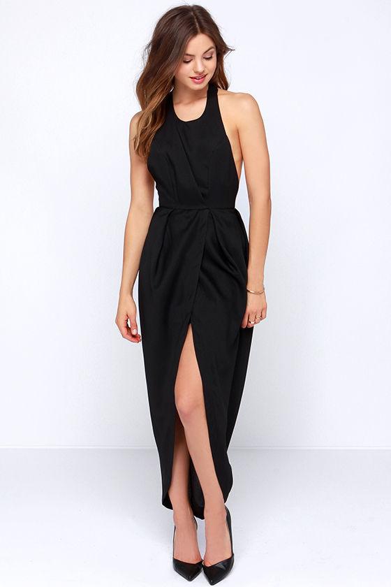 b16f86b20cc85 Sexy Black Dress - Backless Dress - Surplice Dress -  48.00