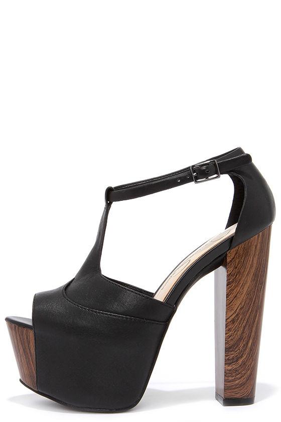 078f4195928 Cute Black Heels - Platform Heels - T Strap Heels -  109.00