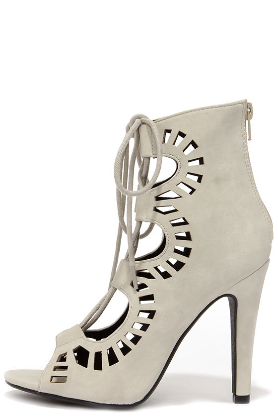 Pretty Peep Toe Booties - Light Grey Booties - Lace-Up Heels - $32.00