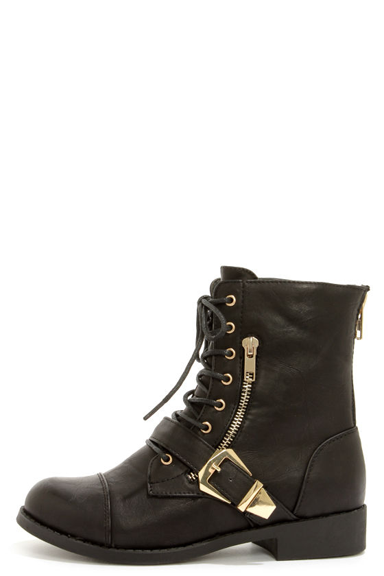 Cute Black Boots - Lace-Up Boots - Combat Boots - $46.00