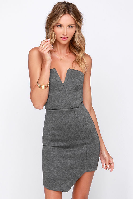 Sexy Grey Dress - Chic Grey Dress - Bodycon Dress - Strapless ...